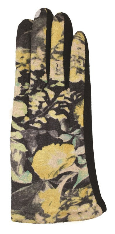 FLORAL SUEDE GLOVES