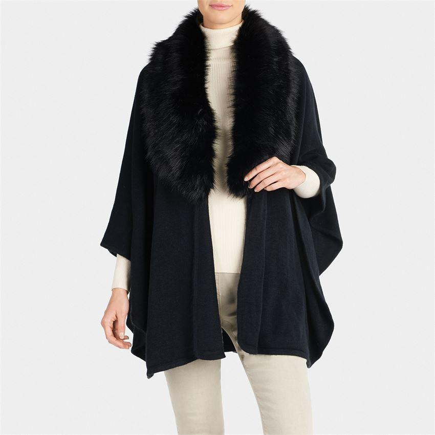 QUEBEC FAUX FUR RUANA