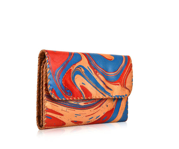 MARBLE LEATHER FOLDING WALLET