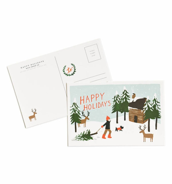 HAPPY HOLIDAYS POSTCARDS SET OF 10