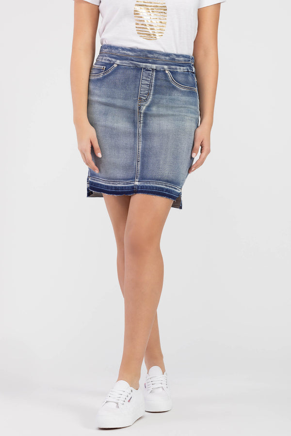 SUN BLEACHED PULL ON JEAN SKIRT
