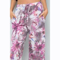 TIE DYE CROPPED WIDE LEG PANTS