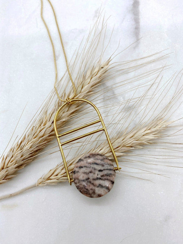 PINK ZEBRA JASPER NECKLACE