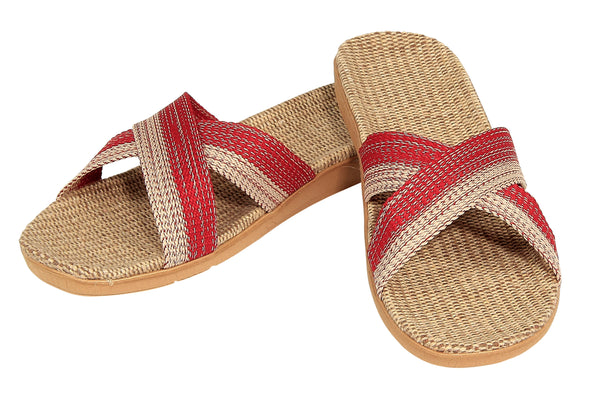 STRIPED CROSS STRAP SLIDES