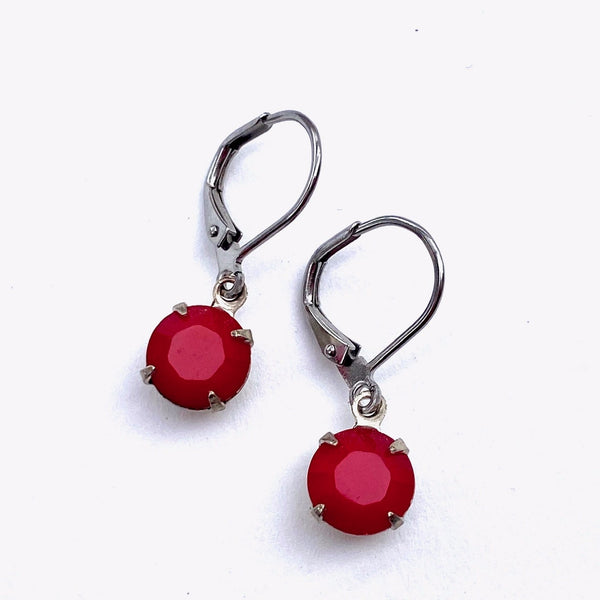 CRYSTAL SMALL DROP EARRINGS IN SILVER
