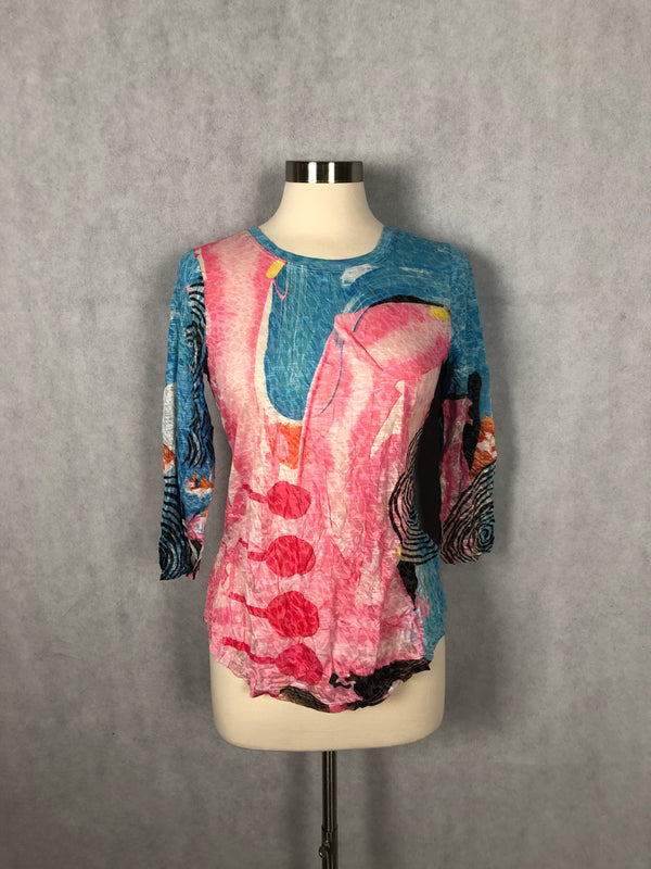 FLAMINGO ABSTRACT ROUND NECK TOP