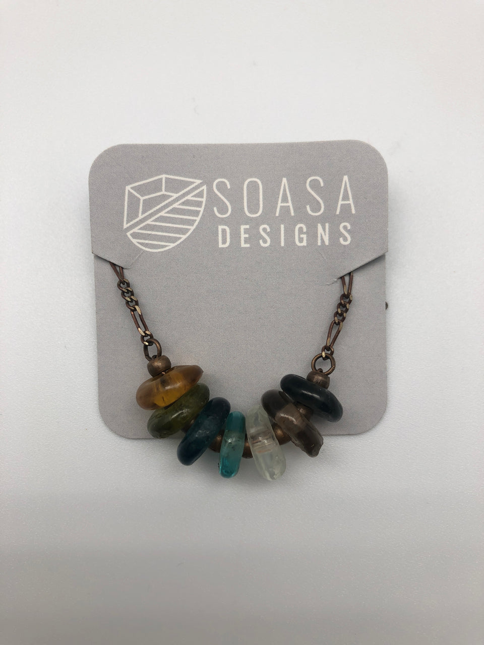 KROBO RECYCLED GLASS & BRASS NECKLACE