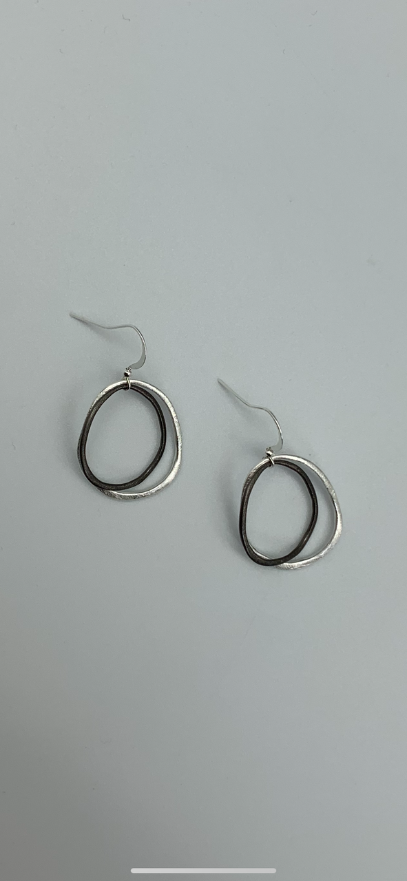 SILVER AND PLATINUM CIRCLE EARRINGS