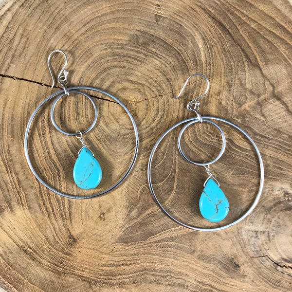 DOUBLE HOOP WITH GREEN TURQUOISE EARRINGS