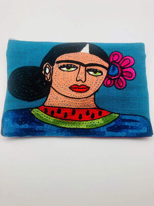EMBROIDERED FRIDA POUCH