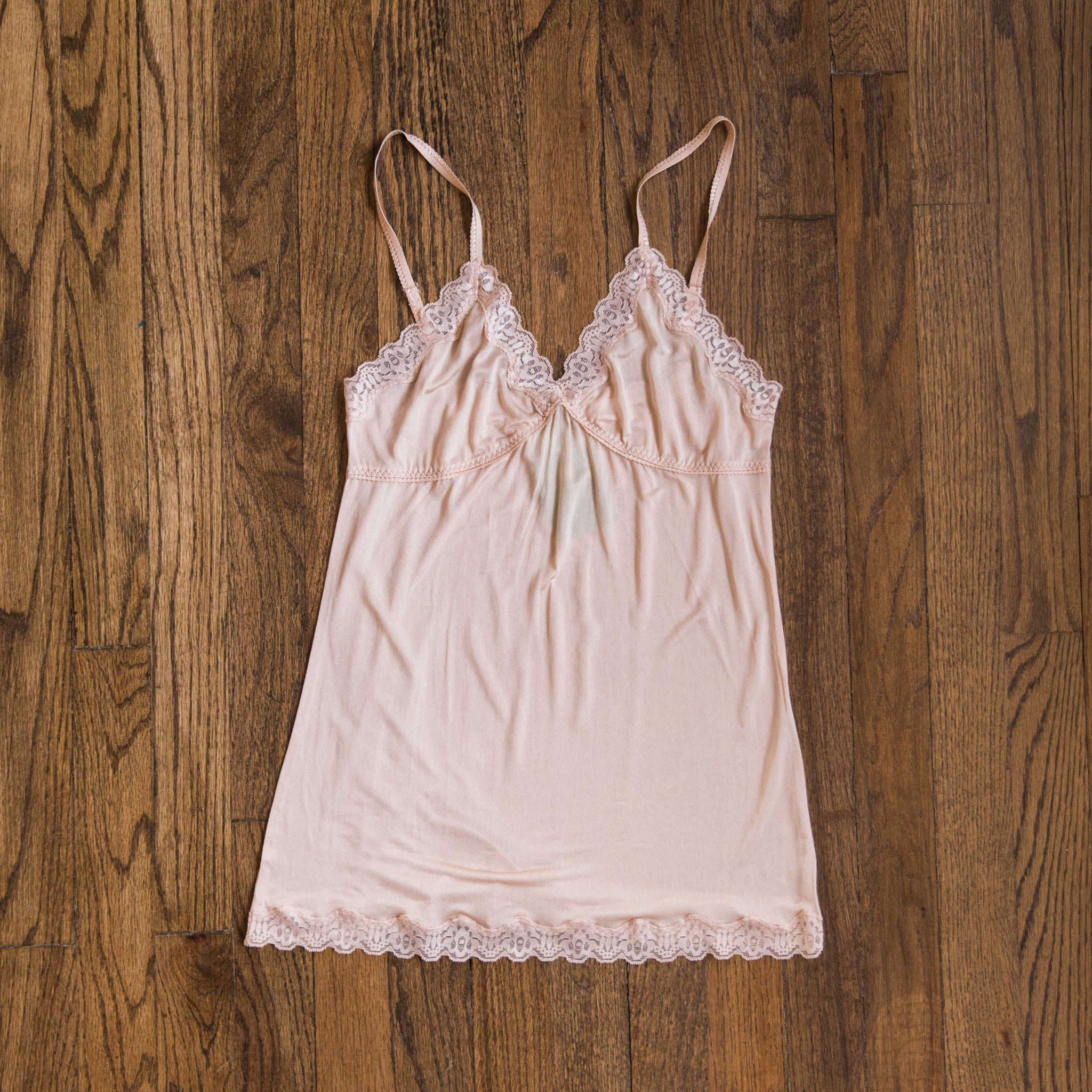 MARY GREEN NUDE SILK KNIT W/LACE CAMISOLE