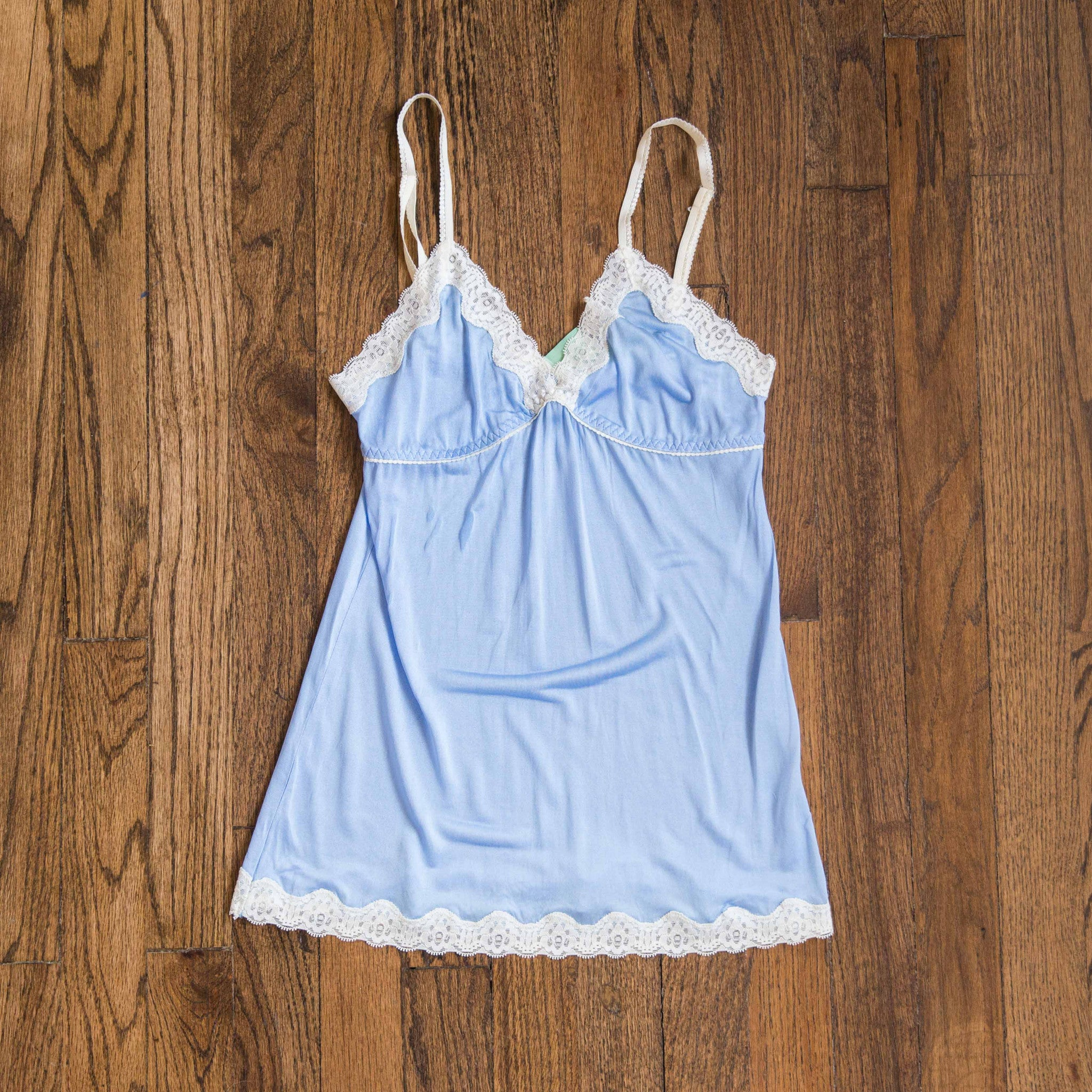 MARY GREEN BLUE/WHITE SILK KNIT W/LACE CAMISOLE