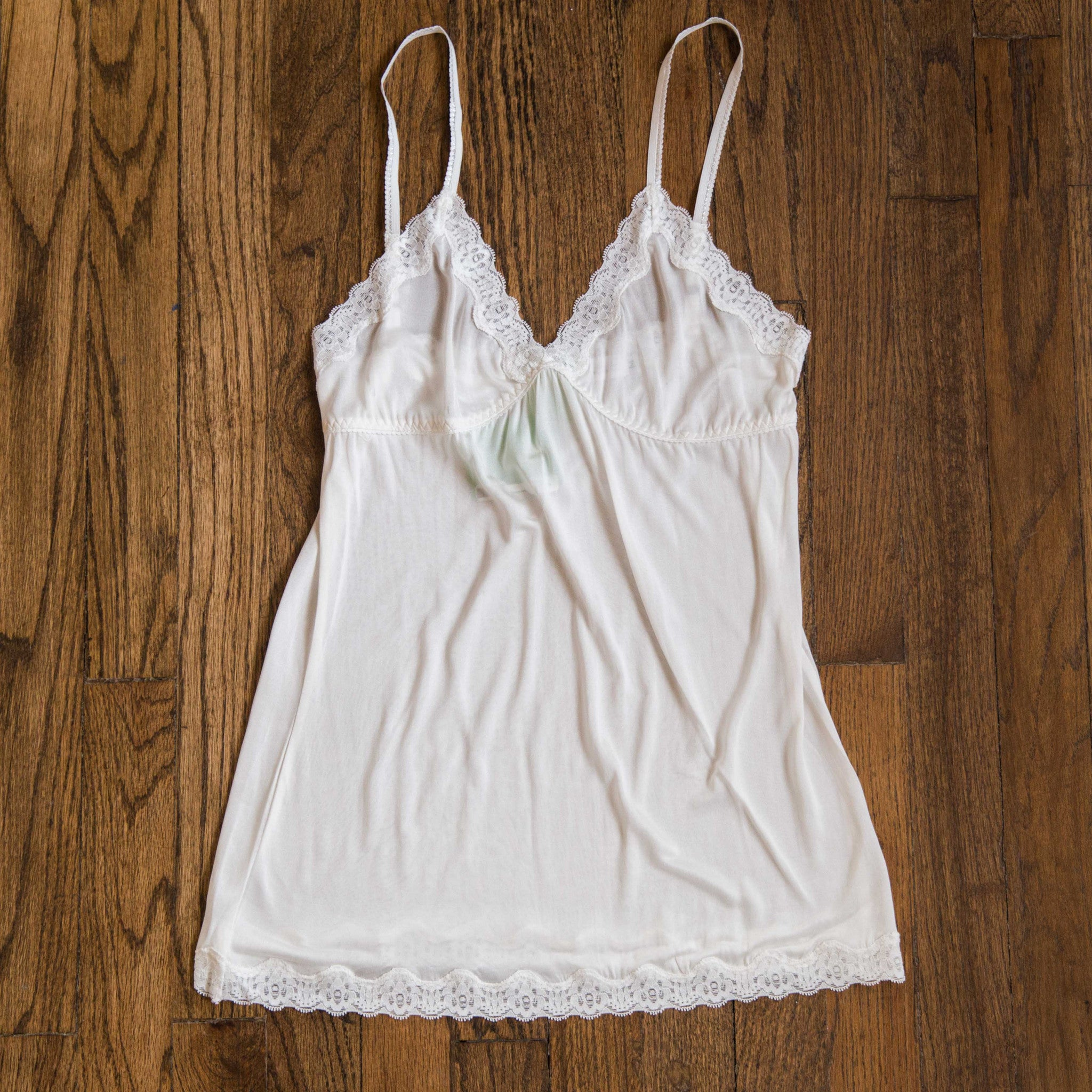 MARY GREEN WHITE SILK KNIT W/LACE CAMISOLE