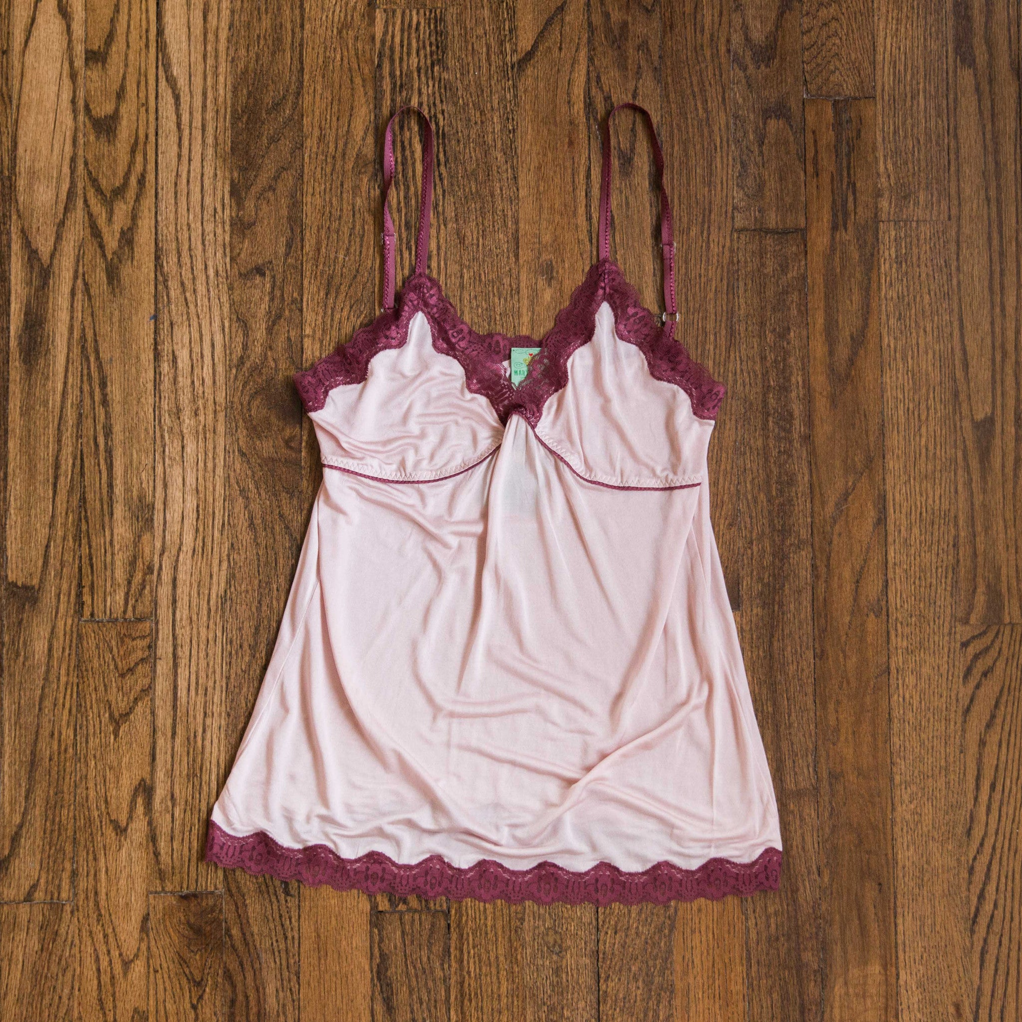MARY GREEN PINK/BURGUNDY SILK KNIT W/LACE CAMISOLE