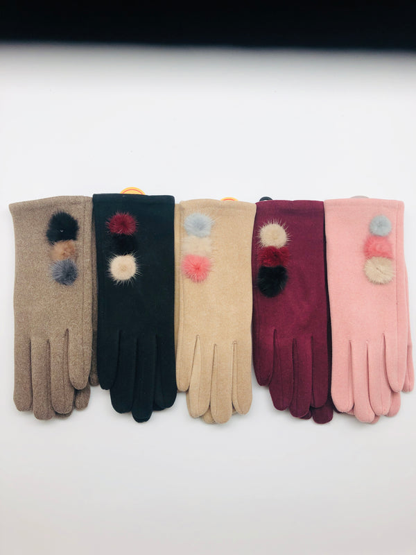SMART TOUCH GLOVES WITH POM POM