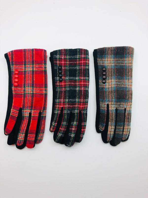 PLAID PRINT SMART GLOVES