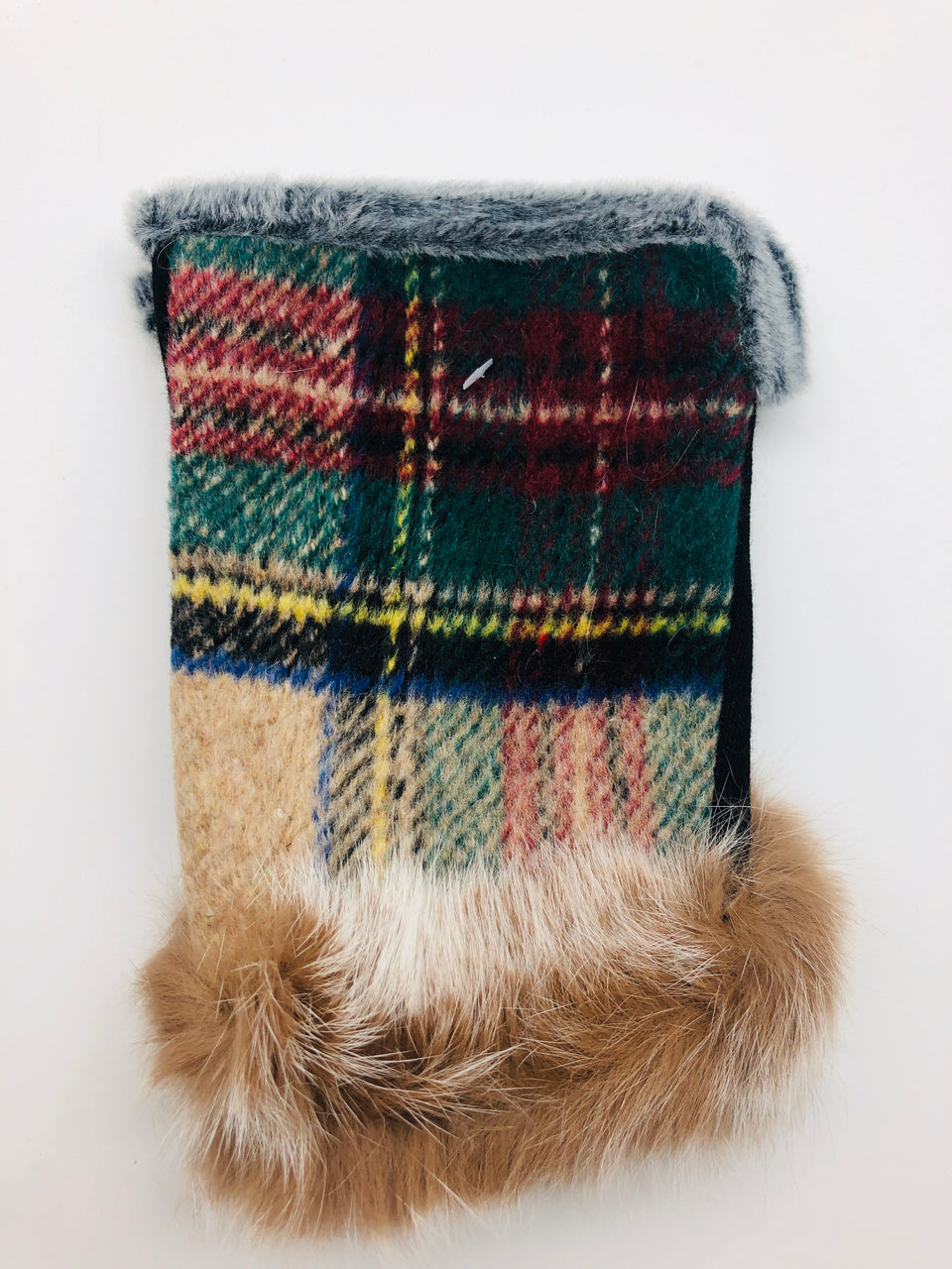 PLAID FINGERLESS FUR GLOVES
