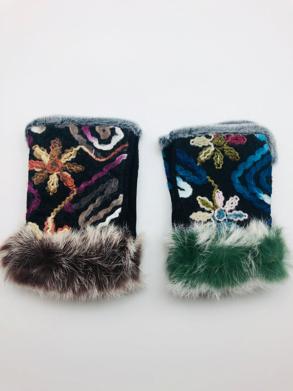 FLOWER YARN FINGERLESS GLOVES