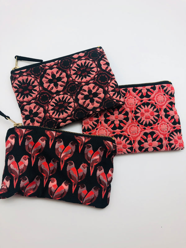 WOVEN FABRIC ZIP POUCH