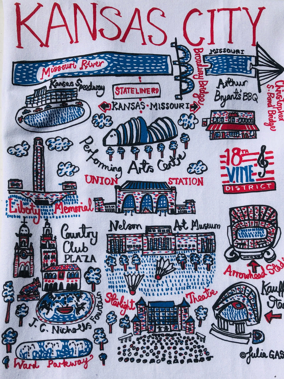 KANSAS CITY MAP TEA TOWEL