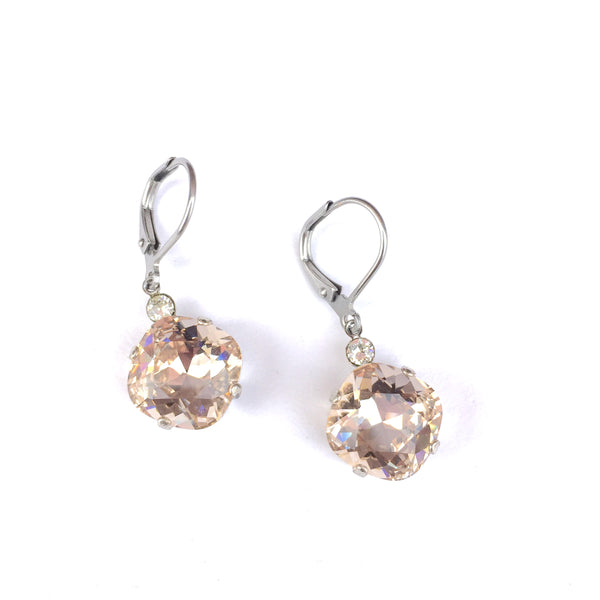 LARGE CRYSTAL DROP EARRINGS IN SILVER