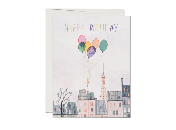 PARIS BALLOONS BIRTHDAY CARD