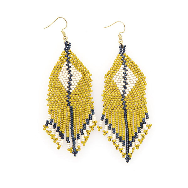 DIAMOND WITH STRIPE FRINGE SEED EARRINGS