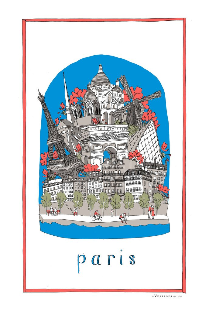 PARIS COLLAGE TOWEL