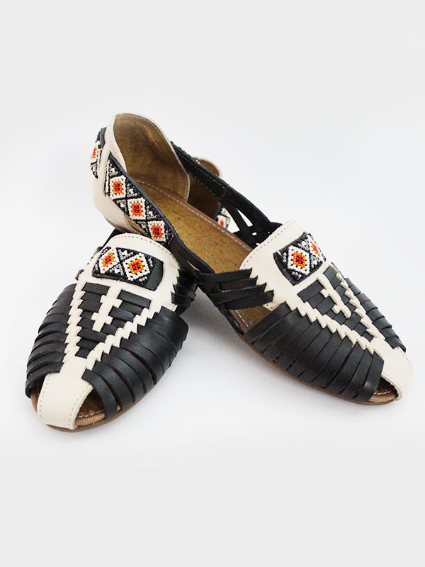 WOVEN BEADED & LEATHER SANDALS