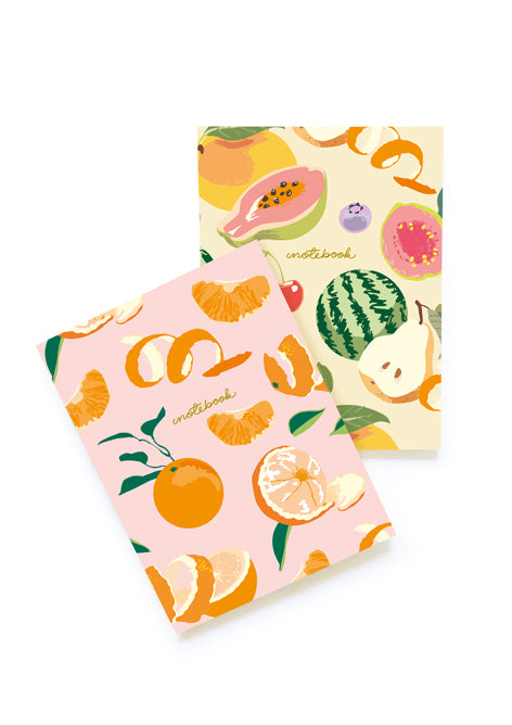 PAIR OF FRUIT SOFT COVER NOTEBOOKS