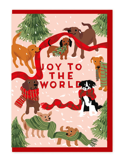 DOGS AND XMAS SCARVES CARD