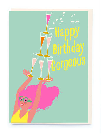 GIRL WITH CELEBRATION DRINKS CARD