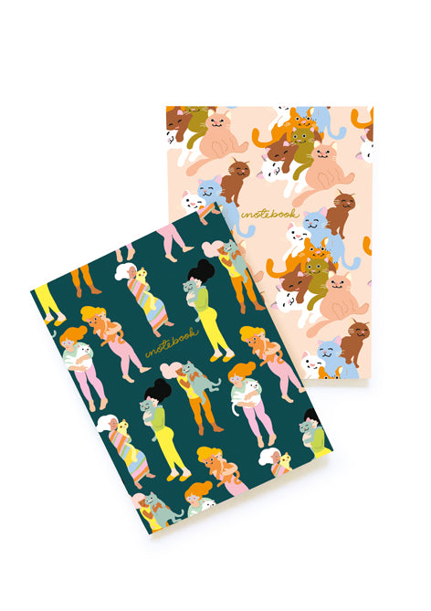 PAIR OF CATS SOFT COVER NOTEBOOKS