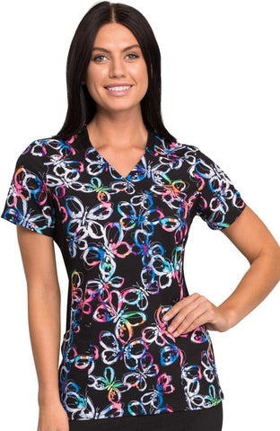 iflex™ by Cherokee Mock Wrap Knit Panel Butterfly Print Top - CK642