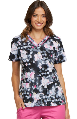 Tooniforms by Cherokee V-Neck Dumbo Print Top - TF610