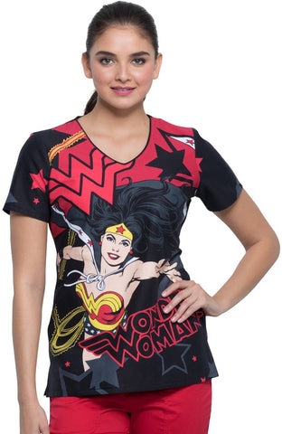 Tooniforms by Cherokee V-Neck Wonder Woman Power Print Scrub Top - TF626