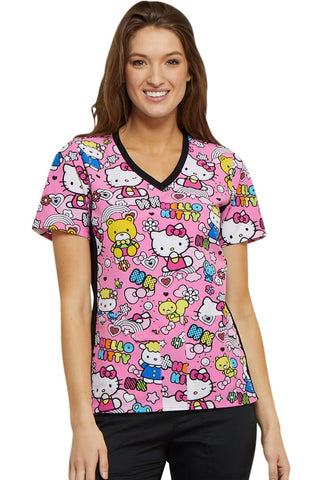 Tooniforms by Cherokee V-Neck Hello Kitty Print Top - TF636