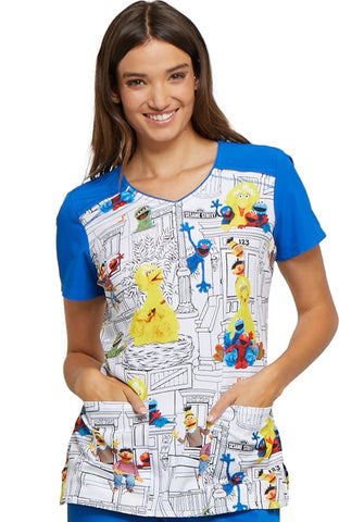Tooniforms by Cherokee V-Neck Sesame Street Print Top - TF645