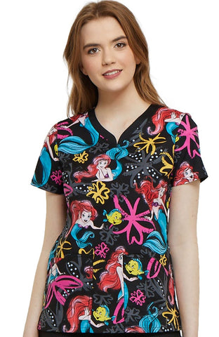 Tooniforms by Cherokee V-Neck Little Mermaid Print Top - TF646