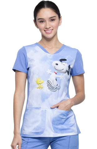 Tooniforms by Cherokee V-Neck Kiss The Sky Print Scrub Top - TF721