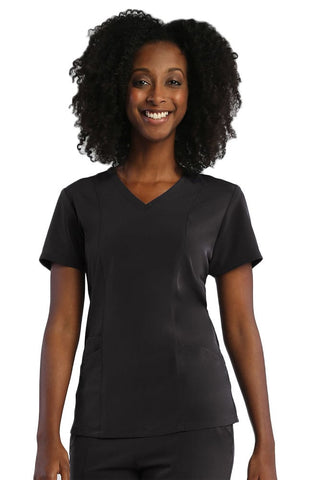 Pure Soft by Maevn Curved V-Neck Solid Top - 1901