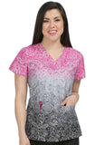 Med Couture V-Neck Paisley Print Scrub Top - 4984