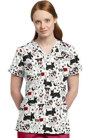Allure by White Cross V-Neck Dog Print Top - 618