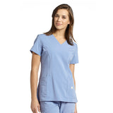 Marvella by White Cross Shaped V-Neck Solid Scrub Top with Pockets - 659