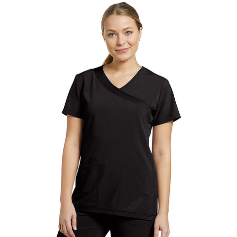 Fit by White Cross Mock Wrap Solid Scrub Top - 748