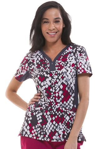 Premiere by Healing Hands Jessi Y-Neck Side Panel Animal Print Top - 2270-PSN