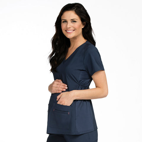 Med Couture Maternity 4 Way Stretch V-Neck Solid Scrub Top - 8459