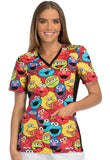 Tooniforms by Cherokee Women's V-Neck Knit Panel Sesame Street Print Top - TF648