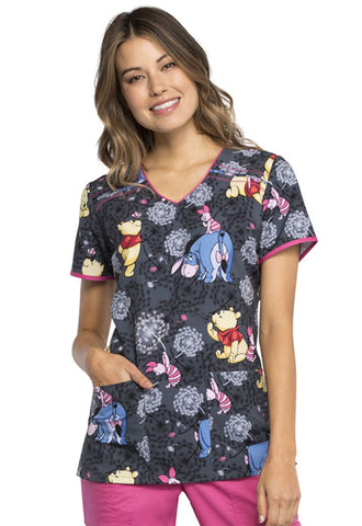 Tooniforms by Cherokee V-Neck Winnie the Pooh Print Top - TF686