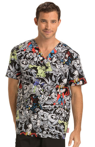 Tooniforms by Cherokee Men's V-Neck Marvel Heroes Print Top - TF623